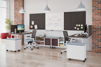 A contemporary office with two workstations back-to-back.