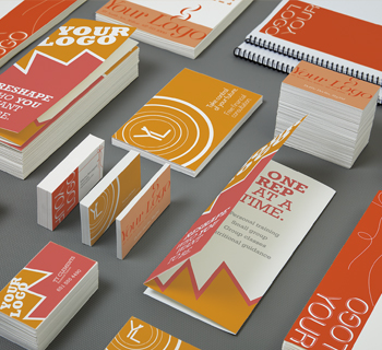Printed brochures, business cards and postcards