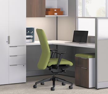 A clean, streamlined cubicle and chair