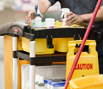 A facilities maintenance cart with supplies.