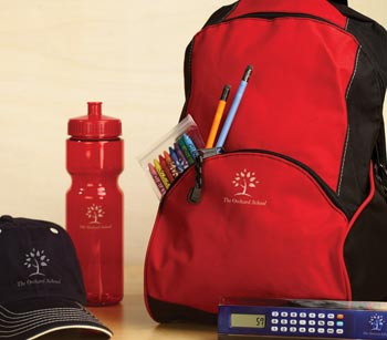 Promotional products: backpack, cap, water bottle