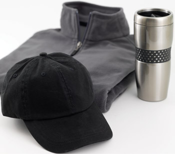 A sweatshirt, black cap and coffee tumbler that can be personalized.