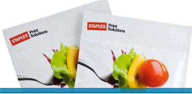 Colorful brochure for Staples Print Products