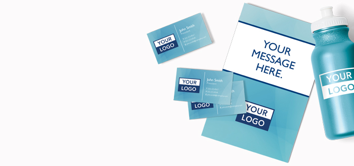 "Assorted printed products with ""Your message here""."