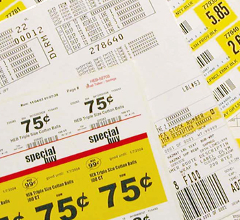Industiral pricing labels.